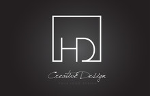 HD Square Frame Letter Logo Design With Black And White Colors.