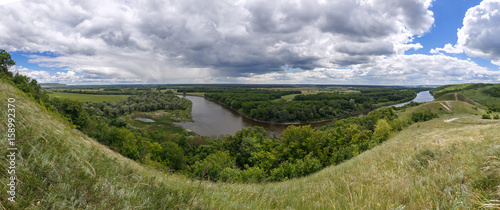 Fototapety, obrazy: Panoramic view from the hills to the valley of the Don river. Landscape of the central part of Russia.