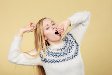 Sleepy Yawning Teenage Woman I...