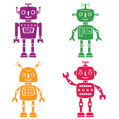 Naklejka Do pokoju dziecka Robots silhouettes set