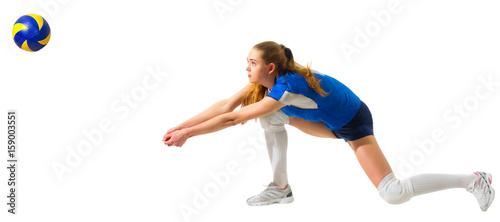 Woman volleyball player isolated (with ball ver)