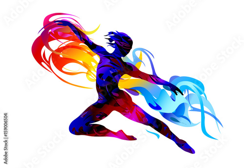 Foto Silhouette of a man jumping.  Rhythmic gymnastics. Ballet dancer