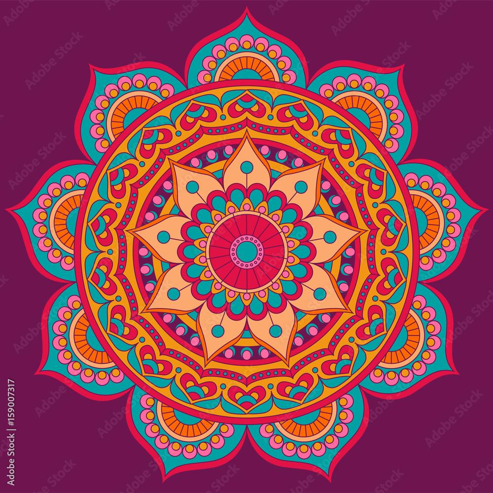 Mandala, square background design, lace ornament in oriental style Canvas Print