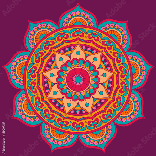 Mandala, square background design, lace ornament in oriental style Canvas-taulu