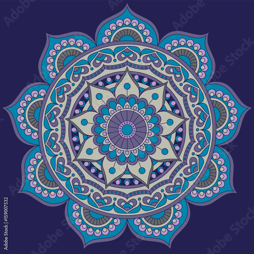 Mandala, square background design, lace ornament in oriental style Canvas Print