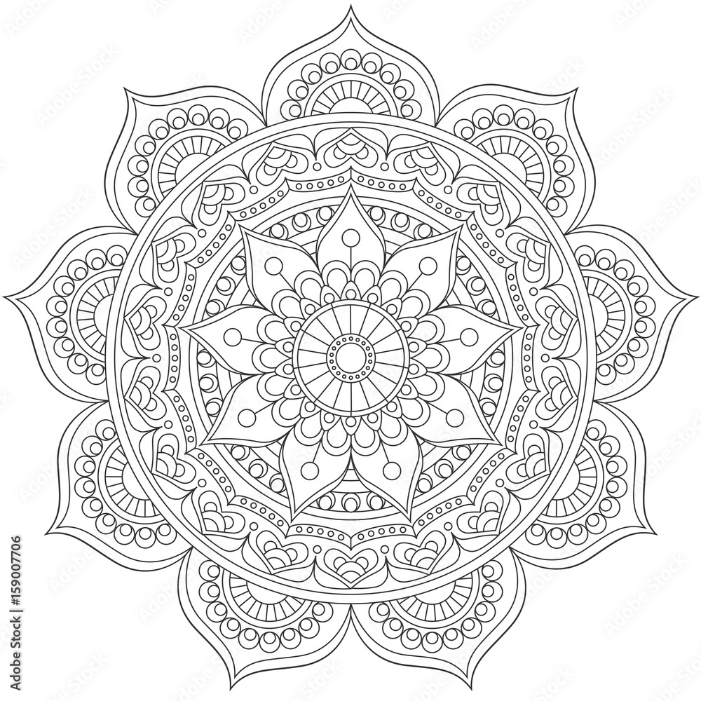 Photo  Mandala, square background design, lace ornament in oriental style