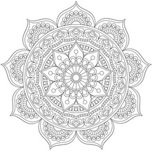 Mandala, Square Background Design, Lace Ornament In Oriental Style.