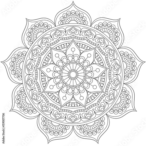 Valokuva  Mandala, square background design, lace ornament in oriental style