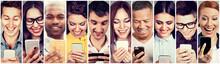 Happy People Using Mobile Smart Phone