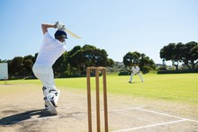 Rear View Of Player Batting Wh...
