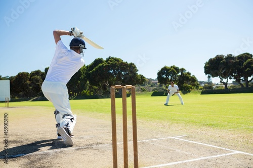 Photo Rear view of player batting while playing cricket on field