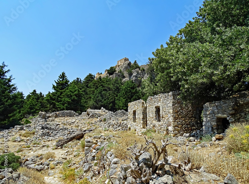 Foto op Aluminium Rudnes Ruins of the deserted village and the fortress Palio Pyli on the island of Kos in Greece