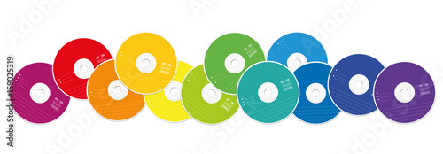 Fotomural  CDs - colored compact disc collection loosely arranged - isolated vector illustration on white background