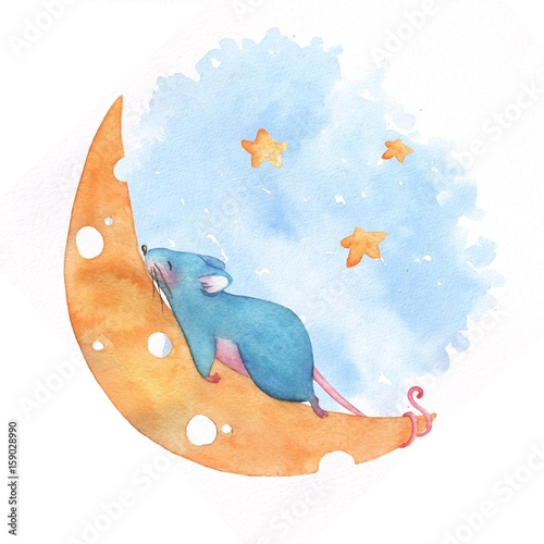 Sleeping mouse on cheese moon. Watercolor illustration, hand-drawing.