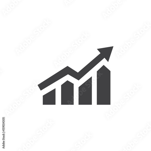 Growing bar graph icon in black on a white background Fototapeta