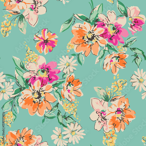 cute hand drawn flower print - seamless background Фотошпалери