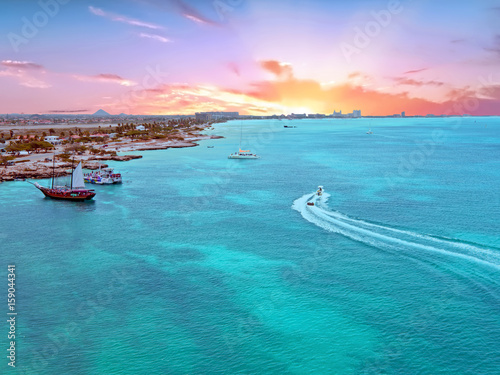 Aerial from Aruba island in the Caribbean Sea at sunset Canvas Print