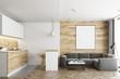 Leinwanddruck Bild - Living room and kitchen, wood