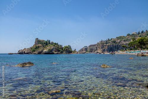 Obraz na plátně  View of Isola Bella island and beach - Taormina, Sicily, Italy
