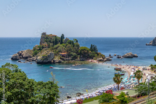 Fotografie, Obraz Aerial view of Isola Bella island and beach - Taormina, Sicily, Italy