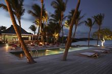 Luxury Resort At Night On The Island Of St Barths