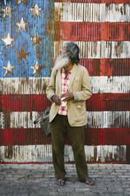 Homeless Man Portrait Against USA Flag