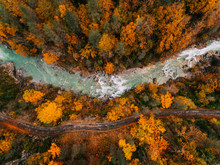 Aerial View Of River And Road On Autumn
