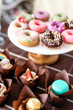 Close-up of donuts on cake stand