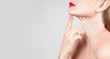 Anti-aging treatment. Beautiful woman neck with massage lines
