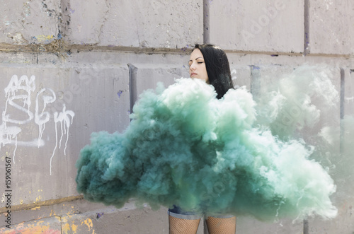 real girl with green smoke bomb Poster