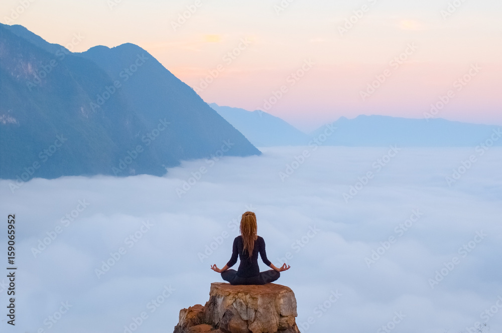 Fototapeta Serenity and yoga practicing,meditation in Laos, view from Nong Khiaw village