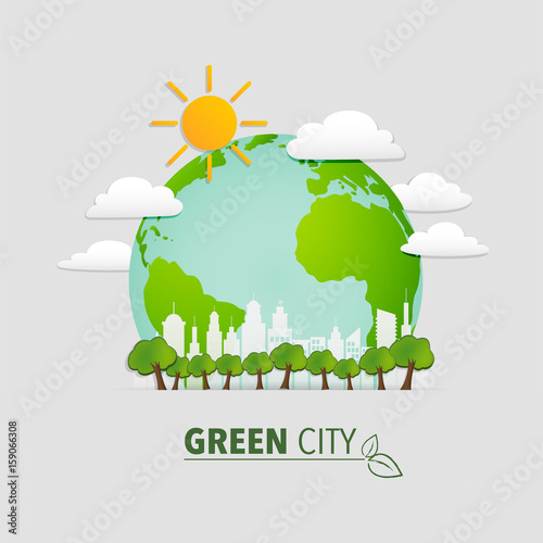 Green City And Ecology Friendly Concept Buy This Stock Vector