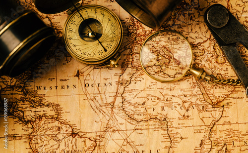 Travel geography navigation concept background. Wallpaper Mural
