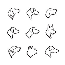Vector Group Of Hand Drawn Dog Head On White Background. Pet Animals.