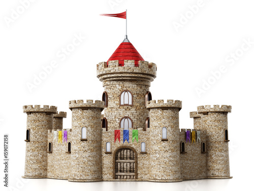 Obraz Fantastic medieval castle isolated on white background - fototapety do salonu