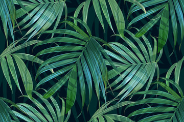 Vector palm frond. Tropical leaves seamless pattern. Banana leaf background. ...