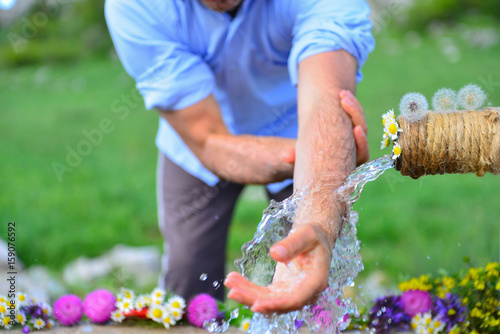 Fotografia, Obraz  ablution fountain is located at Human-time of ablution-time of ablution