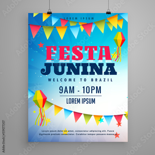 Photo  festa junina celebration poster flyer design with garlands decoration