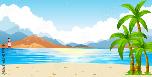 Wall Murals Green coral Ocean scene with lighthouse on island
