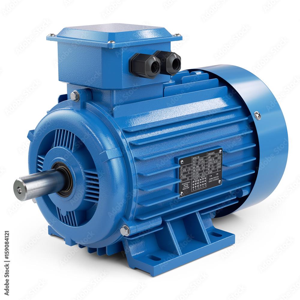 Fototapeta Industrial electric motor blue