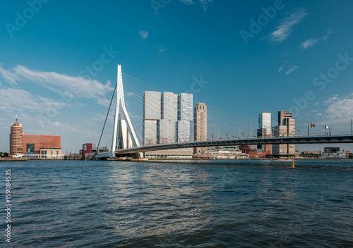 Staande foto Midden Oosten Rotterdam city cityscape skyline with Erasmus bridge and river. South Holland, Netherlands.