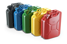 Color Jerry Cans In Row