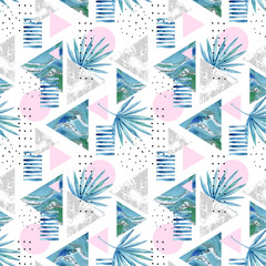 Panel SzklanyAbstract summer geometric background with exotic leaves