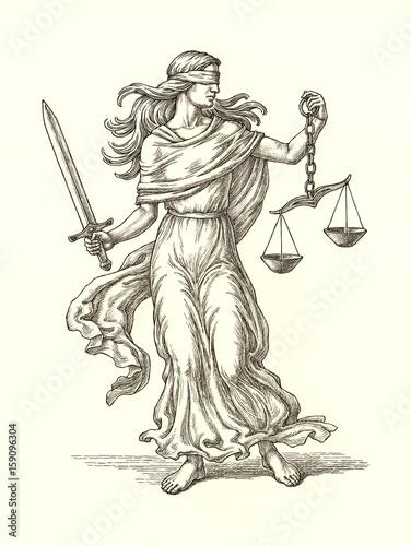 Fototapeta Аллегория правосудия, богиня Фемида, рисунок тушью. obraz