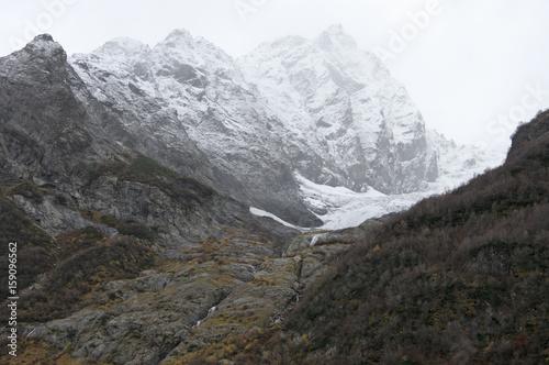 Photo Foggy mountain landscape