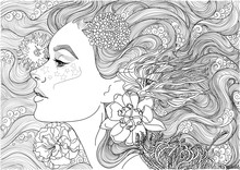 Vector Beautiful Sea Goddess, Mermaid, Girl Among Flowering Algae, Coloring