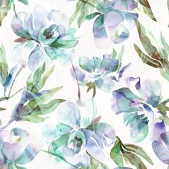 Fototapeta Peonies Seamless Pattern. Watercolor Background.
