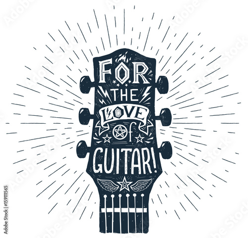 Vector hand drawn guitar fretboard silhouette with lettering inside Fototapet