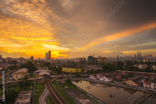 Aluminium Prints Industrial building Panorama of Kuala Lumpur at sunset. Malaysia. Low light and vibrance color.