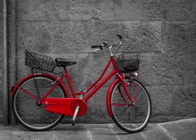 Classical Red Bicycle On Stone...